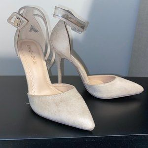 Chase and Chloe Nude Suede Pumps